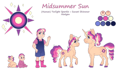 Size: 4300x2500 | Tagged: safe, artist:jackiebloom, oc, oc:midsummer sun, pony, unicorn, equestria girls, baby, baby pony, female, filly, magical lesbian spawn, offspring, parent:sci-twi, parent:sunset shimmer, parent:twilight sparkle, parents:scitwishimmer, parents:sunsetsparkle, reference sheet, simple background, solo, transparent background