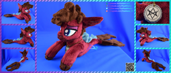 Size: 5834x2500 | Tagged: safe, artist:kiashone, pony, seapony (g4), beanie (plushie), bring me the horizon, colored pupils, commission, facial hair, irl, jewelry, jordan fish, lidded eyes, male, necklace, photo, plushie, ponified, solo