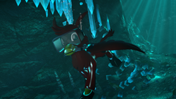 Size: 1920x1080 | Tagged: safe, artist:deltathedragon, oc, oc only, oc:con badger, griffon, 3d, cave, crystal, male, scuba, scuba diving, solo, source filmmaker, underwater, wetsuit