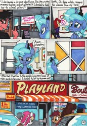 Size: 2060x2988 | Tagged: safe, artist:newyorkx3, princess luna, oc, oc:tommy, alicorn, human, pony, comic:young days, abstract art, comic, modern art, s1 luna, speech bubble, teary eyes