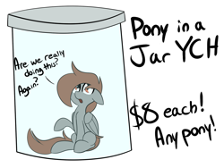 Size: 1000x750 | Tagged: safe, artist:nevaylin, oc, oc only, oc:nevaylin, pegasus, pony, commission, jar, meme, simple background, sitting, solo, white background, ych example, your character here