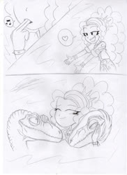 Size: 1280x1762 | Tagged: safe, artist:crock2121, adagio dazzle, dinosaur, equestria girls, comic, deinonychus, female, traditional art