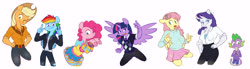 Size: 8414x2315 | Tagged: safe, artist:chub-wub, applejack, fluttershy, pinkie pie, rainbow dash, rarity, spike, twilight sparkle, alicorn, dragon, earth pony, pegasus, unicorn, anthro, alternate hairstyle, applejack's hat, belt, blushing, bracelet, breasts, cleavage, clothes, cowboy hat, eyeshadow, female, freckles, hairpin, hat, hoodie, jacket, jeans, jewelry, leather jacket, makeup, male, mane seven, mane six, miniskirt, one eye closed, open mouth, pants, pantyhose, ripped pants, shirt, side slit, simple background, skirt, socks, stockings, striped pantyhose, striped socks, sweater, sweater vest, sweatershy, t-shirt, thigh highs, torn clothes, twilight sparkle (alicorn), wall of tags, white background, wink, wristband