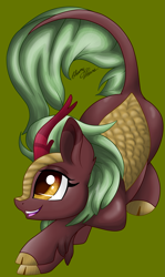 Size: 1969x3297 | Tagged: safe, artist:gleamydreams, cinder glow, summer flare, kirin, pony, cinderbetes, cute, female, green background, kirinbetes, open mouth, profile, simple background, smiling, solo
