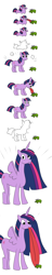 Size: 2600x13555 | Tagged: artist needed, safe, twilight sparkle, alicorn, frog, pony, toad, unicorn, spoiler:s09e26, comedy, comic, licking, meme, princess twilight 2.0, simple background, this isn't even my final form, toad licking, tongue out, transformation, twiggie, twilight sparkle (alicorn), unicorn twilight, upgrade