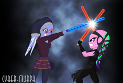 Size: 3000x2016 | Tagged: safe, artist:cyber-murph, aria blaze, sugarcoat, twi'lek, equestria girls, commission, crossover, glasses, headgear, jedi, lightsaber, signature, sith, species swap, star wars, weapon