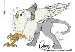 Size: 800x553 | Tagged: safe, artist:omny87, artist:tinibirb, color edit, edit, oc, oc only, oc:der, griffon, spider, behaving like a bird, birb, birds doing bird things, cheek fluff, chest fluff, colored, fluffy, frown, glare, leg fluff, neck fluff, puffy cheeks, scared, shivering, sketch, solo, spread wings, tail fluff, wide eyes, wing fluff, wings