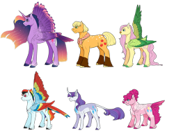 Size: 1280x984 | Tagged: safe, artist:minsona, applejack, fluttershy, pinkie pie, rainbow dash, rarity, twilight sparkle, alicorn, classical unicorn, unicorn, cloven hooves, curved horn, horn, leonine tail, mane six, redesign, ring, simple background, tail feathers, transparent background, twilight sparkle (alicorn), unshorn fetlocks, wedding ring