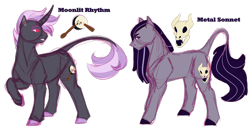 Size: 1280x658 | Tagged: safe, artist:minsona, oc, oc only, oc:metal sonnet, oc:moonlit rhythm, earth pony, unicorn, cutie mark, leonine tail, magical lesbian spawn, next generation, offspring, parent:octavia melody, parent:vinyl scratch, parents:scratchtavia, reference sheet, siblings, simple background, transparent background