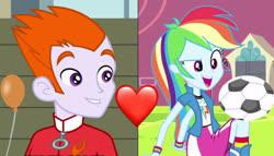 Size: 2400x1376 | Tagged: safe, edit, edited screencap, screencap, heath burns, rainbow dash, equestria girls, equestria girls (movie), background human, rainbowburns, shipping, tracksuit