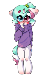 Size: 1000x1512 | Tagged: safe, artist:cottonsweets, oc, oc only, oc:cottonsweets, anthro, candy pony, cat, cat pony, food pony, original species, pony, unguligrade anthro, unicorn, blushing, clothes, cute, hair tie, looking at you, male, simple background, solo, standing, sweater, transparent background, wide eyes