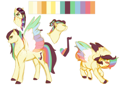 Size: 1280x889 | Tagged: safe, artist:minsona, oc, oc only, oc:scattered light, magical lesbian spawn, next generation, offspring, parent:fluttershy, parent:rainbow dash, parents:flutterdash, reference sheet, simple background, solo, transparent background