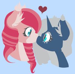 Size: 1060x1050 | Tagged: safe, oc, pegasus, pony, unicorn, archimedes, lineless, oc x oc, shipping, strawberry cupcake