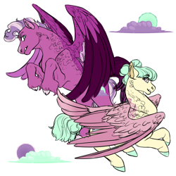 Size: 1024x1024 | Tagged: safe, artist:minsona, oc, oc only, oc:pastel macaroon, oc:purple skies, pegasus, magical lesbian spawn, next generation, offspring, parent:fluttershy, parent:pinkie pie, parents:flutterpie, reference sheet, siblings, simple background, white background