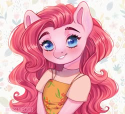 Size: 1600x1457 | Tagged: safe, artist:bossmeow, pinkie pie, anthro, bust, solo