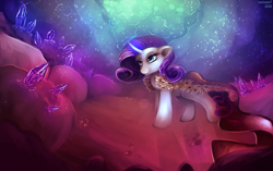 Size: 3969x2494 | Tagged: safe, artist:rocioam7, rarity, unicorn, cape, clothes, crystal, curved horn, gem, gem cave, glowing horn, horn, queen, signature, smiling, solo
