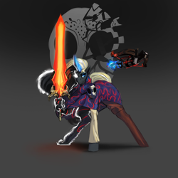 Size: 3000x3000 | Tagged: safe, artist:nsilverdraws, oc, oc only, oc:vuren sundown, horse, pony, unicorn, boots, cloak, clothes, crossbow, eldritch horror, female, glowing eyes, glowing horn, greatsword, hand, horn, levitation, magic, magic sword, mare, markings, mask, older, shoes, simple background, solo, sundown clan, sword, telekinesis, weapon