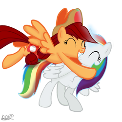 Size: 1000x1000 | Tagged: safe, artist:rainbow dash is best pony, oc, oc only, oc:appletime, oc:rainbowrio, alicorn, pegasus, pony, base used, hat, hug, simple background, white background