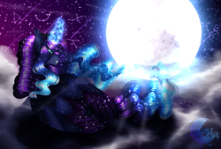 Size: 2316x1565 | Tagged: safe, artist:djspark3, princess luna, alicorn, pony, digital art, female, mare, moon, night, solo, stars