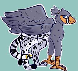 Size: 2695x2464 | Tagged: safe, artist:tricksterdoodles, oc, oc:ruzeth, griffon, zebra, male, species swap
