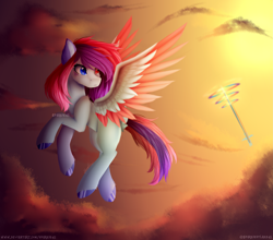 Size: 3721x3281 | Tagged: safe, artist:sparkie45, rainbow dash, oc, oc:kyrhu, pegasus, pony, female, heterochromia, mare, solo focus, sonic rainboom, twilight (astronomy), two toned wings, wings