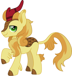 Size: 1500x1580 | Tagged: safe, artist:cloudyglow, braeburn, kirin, kirin-ified, looking at you, male, raised hoof, simple background, solo, species swap, transparent background