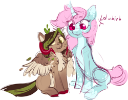 Size: 1478x1153   Tagged: safe, oc, oc:helemaranth, oc:scoops, pegasus, pony, unicorn, cute