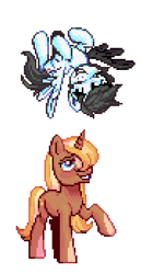 Size: 360x697 | Tagged: safe, artist:hikkage, oc, oc:snow bright, oc:sunny sam, pony, unicorn, amputee, artificial wings, augmented, flying, intersex, male, mechanical wing, owner:xheotris, pegaaus, pegasus oc, pixel art, ponified, prosthetic limb, prosthetic wing, prosthetics, snowsun, stallion, unicorn oc, upside down, wings