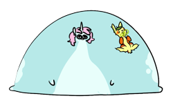 Size: 815x495 | Tagged: safe, artist:redxbacon, artist:rice, edit, oc, oc only, oc:non toxic, oc:scoops, pony, tatzlwurm, unicorn, blob, fat, immobile, morbidly obese, obese, simple background, transparent background