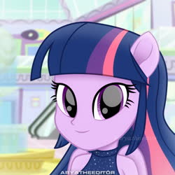 Size: 1920x1920 | Tagged: safe, artist:aryatheeditor, twilight sparkle, alicorn, equestria girls, looking at you, magic, photo, ponied up, pony ears, sleeveless, sleeveless shirt, smiley face, smiling, solo, straight hair, twilight sparkle (alicorn), wings
