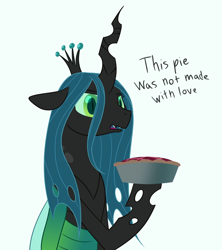 Size: 800x900 | Tagged: safe, artist:enigmadoodles, queen chrysalis, changeling, changeling queen, disappointed, female, food, pie, simple background, solo, white background