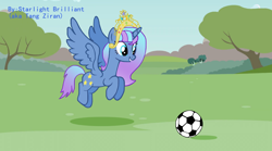 Size: 4000x2220 | Tagged: safe, artist:starlight brilliant, oc, oc only, oc:starlight resplendent, alicorn, pony, alicorn oc, crown, female, football, jewelry, regalia, solo, sports, tail, wings