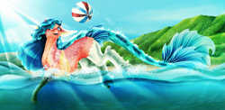 Size: 5077x2480 | Tagged: safe, artist:oneiria-fylakas, oc, beach ball, female, fish tail, high res, mare, solo