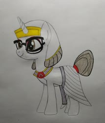 Size: 2760x3228 | Tagged: safe, artist:bsw421, raven, unicorn, egyptian, female, mare, solo, traditional art