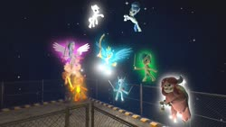 Size: 1280x720 | Tagged: safe, artist:horsesplease, double diamond, gallus, ocellus, party favor, sandbar, silverstream, smolder, yona, 3d, catasterism, celestial, daemonhammer, doggie favor, female, gallbar, gallstream, gay, glow, gmod, hammer, khopesh, magic, male, shipping, straight, student six, sword, weapon, whopesh
