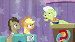 Size: 1920x1080 | Tagged: safe, screencap, applejack, doctor whooves, granny smith, time turner, a trivial pursuit, spoiler:s09e16, bell