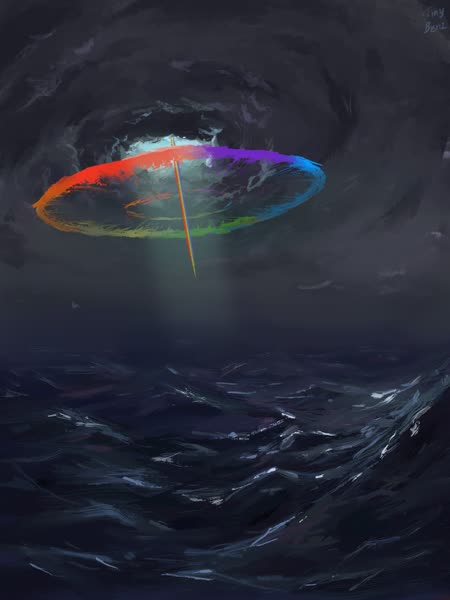 Size: 1536x2048 | Tagged: safe, artist:tinybenz, rainbow dash, double rainboom, badass, cloud, crepuscular rays, dark clouds, epic, featured image, female, lighting, ocean, rainbow trail, scenery, scenery porn, solo, sonic rainboom, wave