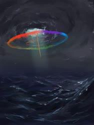 Size: 1536x2048 | Tagged: safe, artist:tinybenz, rainbow dash, cloud, crepuscular rays, dark clouds, lighting, ocean, scenery, scenery porn, sonic rainboom, wave