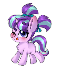 Size: 1210x1518 | Tagged: safe, artist:cottonsweets, starlight glimmer, pony, unicorn, blushing, cute, female, filly, filly starlight, glimmerbetes, hair tie, one eye closed, pigtails, simple background, solo, tongue out, transparent background, wink, younger