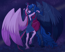 Size: 2612x2124 | Tagged: safe, artist:j3r1k0, derpibooru exclusive, princess luna, twilight sparkle, alicorn, anthro, unguligrade anthro, armpits, clothes, cloven hooves, colored wings, cutie mark, dancing, dress, ethereal mane, eye contact, female, glowing horn, heart, horn, jewelry, large wings, lesbian, long hair, long mane, long tail, looking at each other, magic, magic aura, mare, multicolored wings, raised leg, shipping, side slit, space, starry mane, twilight sparkle (alicorn), twiluna, underhoof, unshorn fetlocks, wings