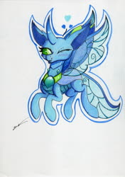 Size: 2460x3486 | Tagged: safe, artist:luxiwind, oc, oc:flox, changedling, changeling, female, high res, one eye closed, solo, tongue out, traditional art, wink