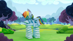 Size: 1920x1080 | Tagged: safe, screencap, rainbow dash, pegasus, pony, my little pony: stop motion short, pillow fight (short), pony life, cropped, female, mare, pillow, sleeping, solo, stop motion