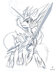 Size: 1182x1492 | Tagged: safe, artist:zidanemina, shining armor, pony, unicorn, armor, black and white, crossover, grayscale, monochrome, saint seiya, solo, sword, weapon