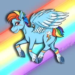 Size: 1280x1280   Tagged: safe, artist:illustr-graph, rainbow dash, pegasus, pony, leak, spoiler:g5, abstract background, ear piercing, eye scar, female, g5, hooves, mare, piercing, rainbow dash (g5), redesign, scar, solo, spread wings, wings