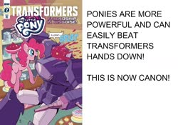 Size: 1426x1000 | Tagged: safe, edit, idw, pinkie pie, spoiler:friendship in disguise, shockwave, text, transformers