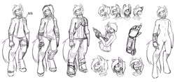 Size: 1874x888 | Tagged: safe, artist:tea-redrex, oc, oc only, anthro, earth pony, unguligrade anthro, amputee, clothes, gun, lineart, monochrome, prosthetic limb, prosthetics, weapon