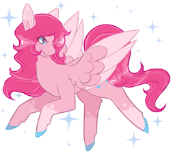 Size: 897x806   Tagged: safe, artist:morosevulpes, pinkie pie, pegasus, pony, leak, spoiler:g5, big ears, flying, g5, hooves, pegasus pinkie pie, pinkie pie (g5), race swap, redesign, simple background, smiling, solo, spread wings, wings