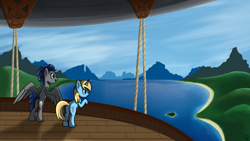 Size: 1920x1080 | Tagged: safe, artist:shadow blaze, oc, oc only, oc:skydreams, oc:zephyr, pegasus, pony, unicorn, airship, commission, duo, female, lake, mare, mountain, royal equestrian skyguard, scenery