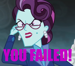 Size: 1018x900   Tagged: safe, edit, edited screencap, screencap, principal abacus cinch, human, equestria girls, friendship games, angry, caption, cropped, faic, female, image macro, meme, quote, reaction image, solo, team fortress 2, text, the administrator, you failed