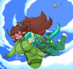 Size: 3200x3000 | Tagged: safe, artist:alyrise, sandbar, yona, earth pony, yak, anthro, aircraft, big breasts, breasts, busty yona, clothes, cloud, commission, falling, female, goggles, huge breasts, jumpsuit, male, parachute, shipping, size difference, sky, skydiving, straight, yonabar